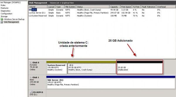 Adicionando espaço em disco no VMWare ESX – passo a passo Windows Server 2008R2. (6/6)
